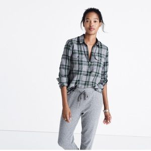Madewell flannel zip-front popover shirt in plaid